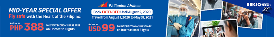 PHILIPPINE AIRLINES MID-YEAR SPECIAL OFFER UNTIL 02 AUG 2020
